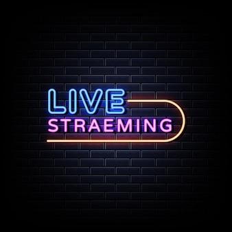 Texto de estilo de sinais de néon de transmissão ao vivo