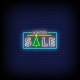 Texto de estilo de sinais de néon de venda de inverno