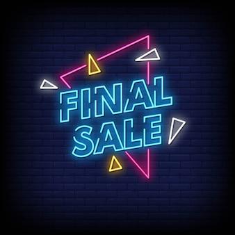 Texto de estilo de sinais de néon de venda final