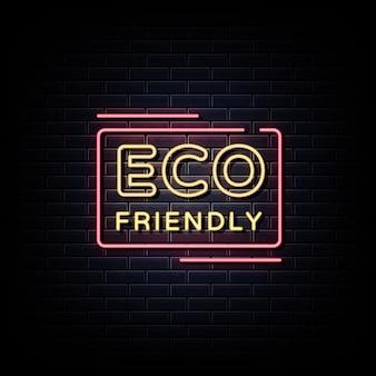 Texto de estilo de sinais de néon ecológicos