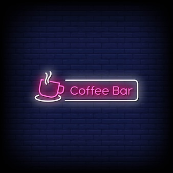 Texto de estilo de sinais de néon em barra de café
