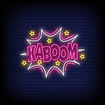 Texto de estilo de sinais de néon kaboom