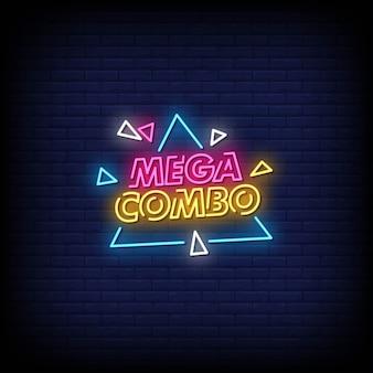 Texto de estilo de sinais de néon mega combo