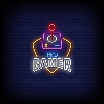 Texto de estilo de sinais de néon para jogadores profissionais