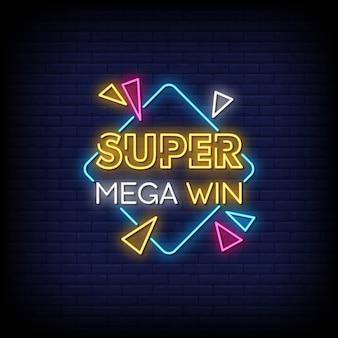 Texto de estilo de sinais de néon super mega win