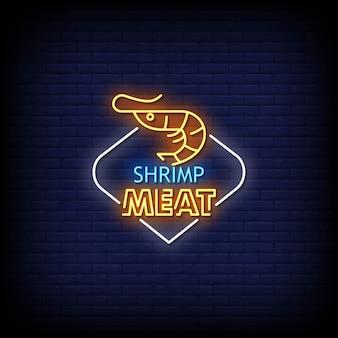 Texto de estilo de sinal de néon de carne de camarão