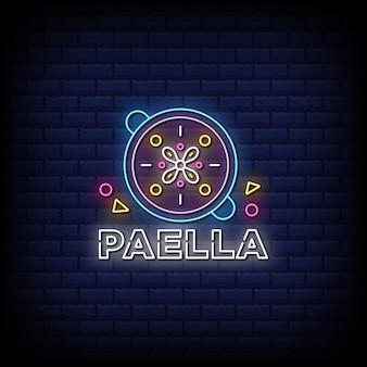 Texto de estilo de sinal de paella neon