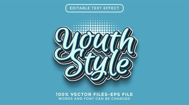 Texto de estilo jovem 3d. vetores premium de efeitos de texto editáveis