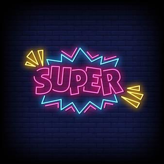 Texto de estilo super sinais de néon