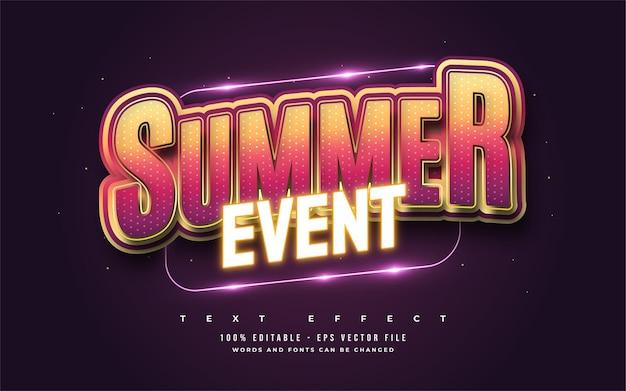 Texto de evento de verão em gradiente colorido com efeito de néon brilhante. efeito de estilo de texto editável