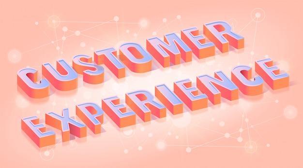 Texto de experiência do cliente isométrico