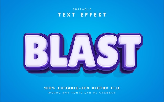 Texto de explosão, efeito de texto estilo desenho animado