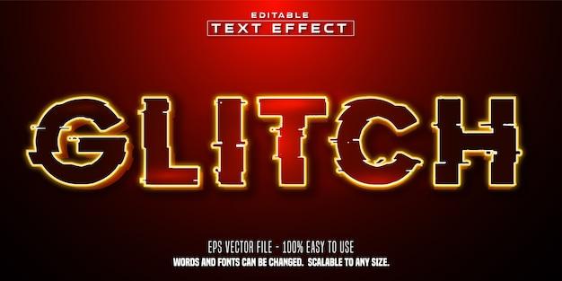 Texto de falha, efeito de texto editável de estilo de cor vermelha