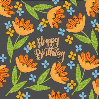 Texto de feliz aniversário com flores laranja