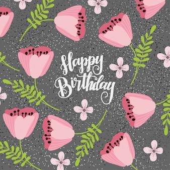 Texto de feliz aniversário com flores rosa