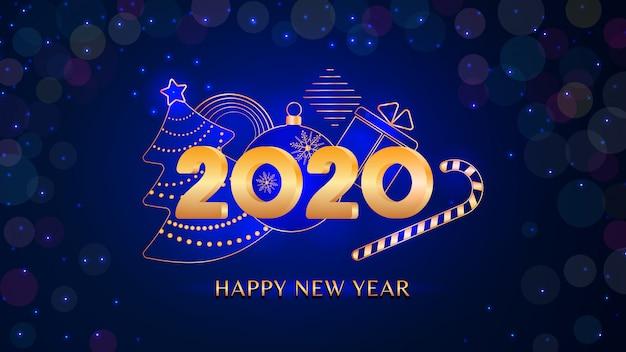 Texto de feliz ano novo de 2020 com números dourados na luz de bokeh brilho azul, banner de férias