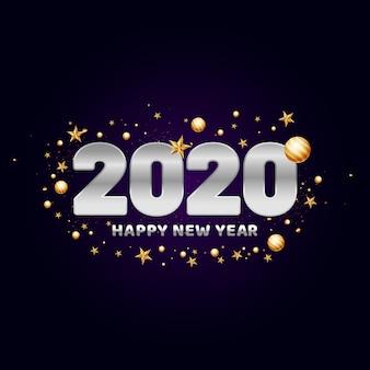 Texto de feliz ano novo de 2020 decorado com enfeites de ouro.