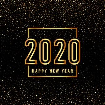 Texto de feliz ano novo de 2020 em ouro para brilhos