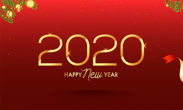 Texto de feliz ano novo de 2020 em ouro sobre fundo vermelho decorado