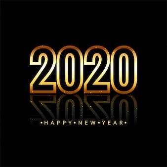 Texto de feliz ano novo de 2020 em ouro