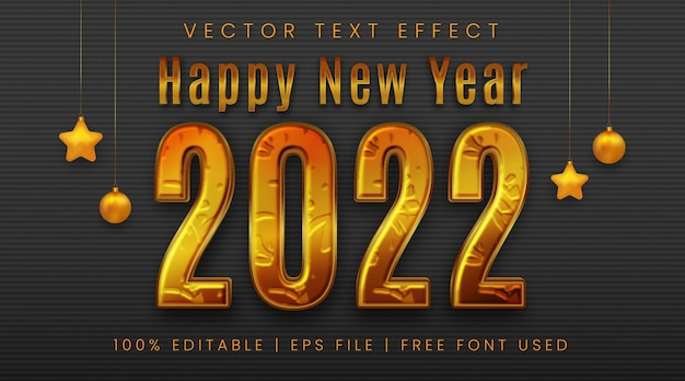 Texto de feliz ano novo de 2022, estilo de efeito de texto dourado editável