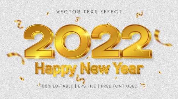Texto de feliz ano novo de 2022, estilo de efeito de texto editável em ouro