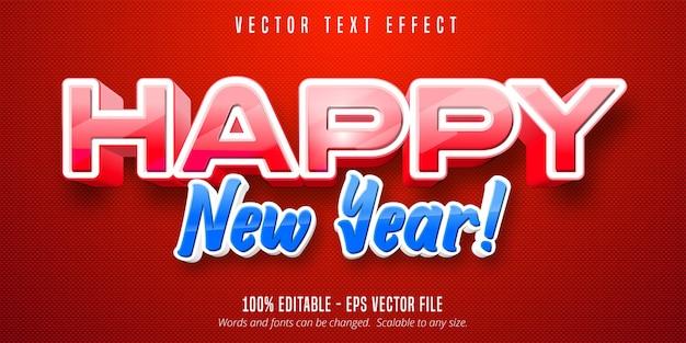 Texto de feliz ano novo, efeito de texto editável estilo desenho animado