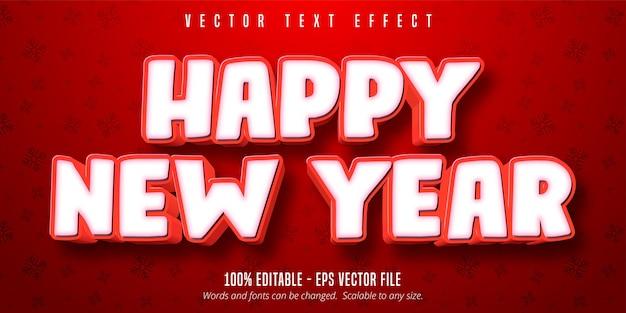 Texto de feliz ano novo, efeito de texto editável no estilo natal