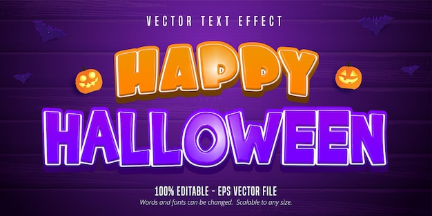Texto de feliz dia das bruxas, efeito de texto editável em estilo cartoon sobre fundo roxo de madeira