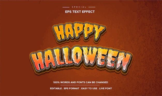 Texto de feliz dia das bruxas, estilo de efeito de texto editável de desenho animado