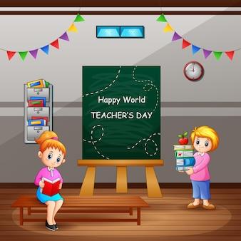 Texto de feliz dia do professor na lousa com professoras