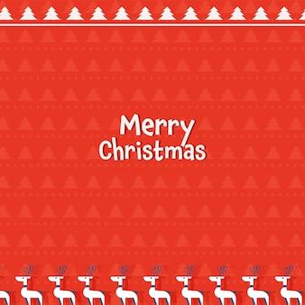Texto de feliz natal branco com flocos de neve e renas em fundo de árvore de natal vermelha.