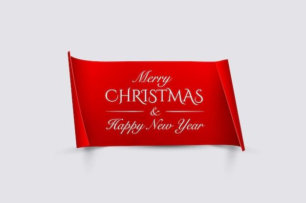 Texto de feliz natal e feliz ano novo em papel vermelho com bordas curvas isoladas em fundo cinza