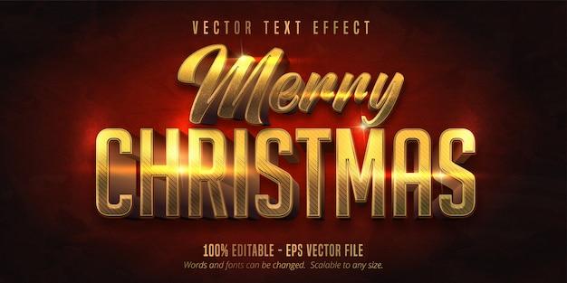 Texto de feliz natal, efeito de texto editável de estilo de natal dourado brilhante