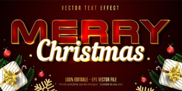 Texto de feliz natal, efeito de texto editável de luxo estilo dourado em fundo texturizado de cor vermelha