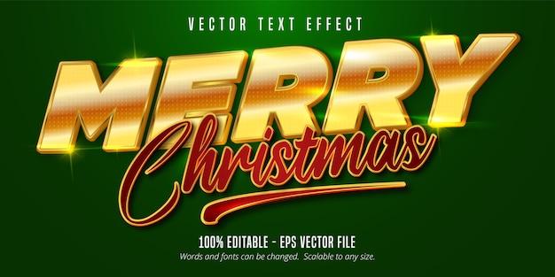 Texto de feliz natal, efeito de texto editável estilo dourado brilhante