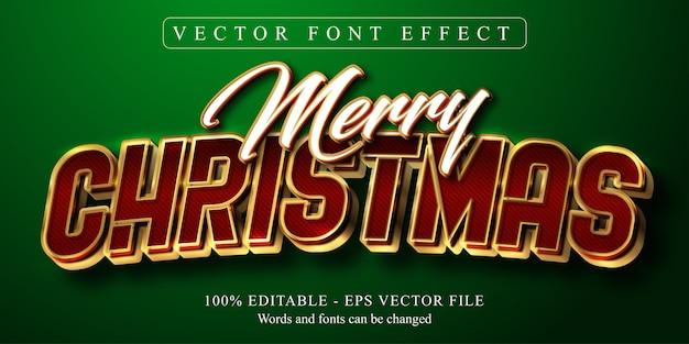 Texto de feliz natal, efeito de texto editável estilo dourado