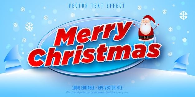 Texto de feliz natal, efeito de texto editável no estilo natal