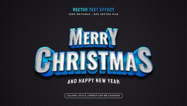 Texto de feliz natal em estilo branco e azul e efeito em relevo