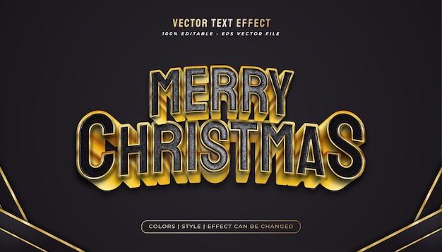 Texto de feliz natal em estilo preto e dourado e efeito de textura plástica realista