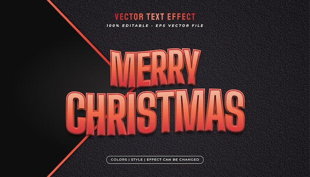 Texto de feliz natal em vermelho com efeito em relevo