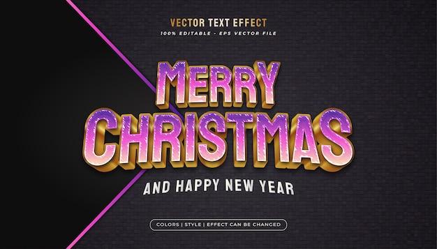 Texto de feliz natal estilo de texto vibrante e elegante com efeito em relevo no conceito roxo e dourado