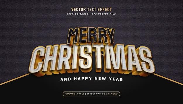Texto de feliz natal no estilo branco e preto e efeito em relevo no conceito ouro
