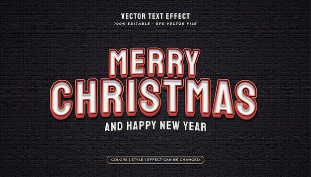 Texto de feliz natal no estilo branco e vermelho com efeito em relevo