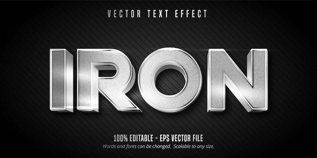 Texto de ferro, efeito de texto editável de estilo metálico de cor prata