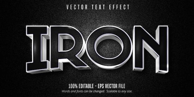 Texto de ferro, efeito de texto editável estilo prata metálico