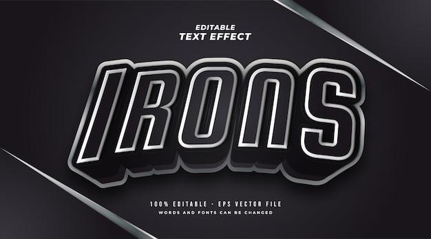 Texto de ferros em preto e branco com efeito metálico e 3d. efeito de estilo de texto editável