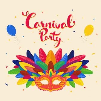 Texto de festa de carnaval colorido com máscara com penas e balões