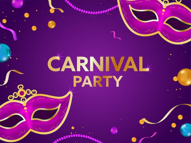 Texto de festa de carnaval dourado com máscaras de máscaras Vetor Premium