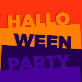 Texto de festa de halloween com fundo de camadas de corte de papel